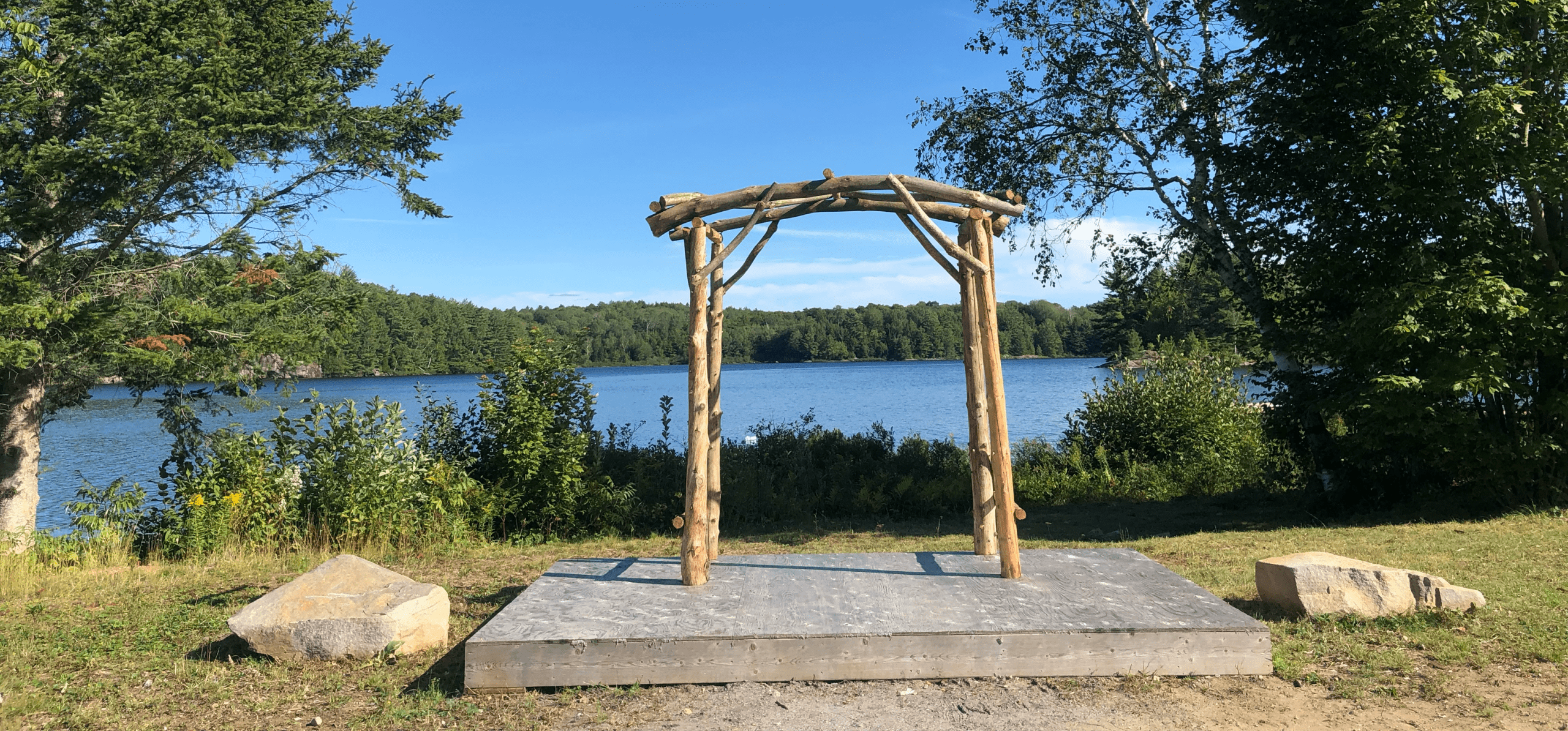 Arches by lake