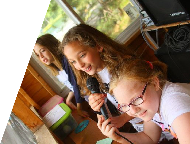 Campers working at the Camp Tamarack radio station